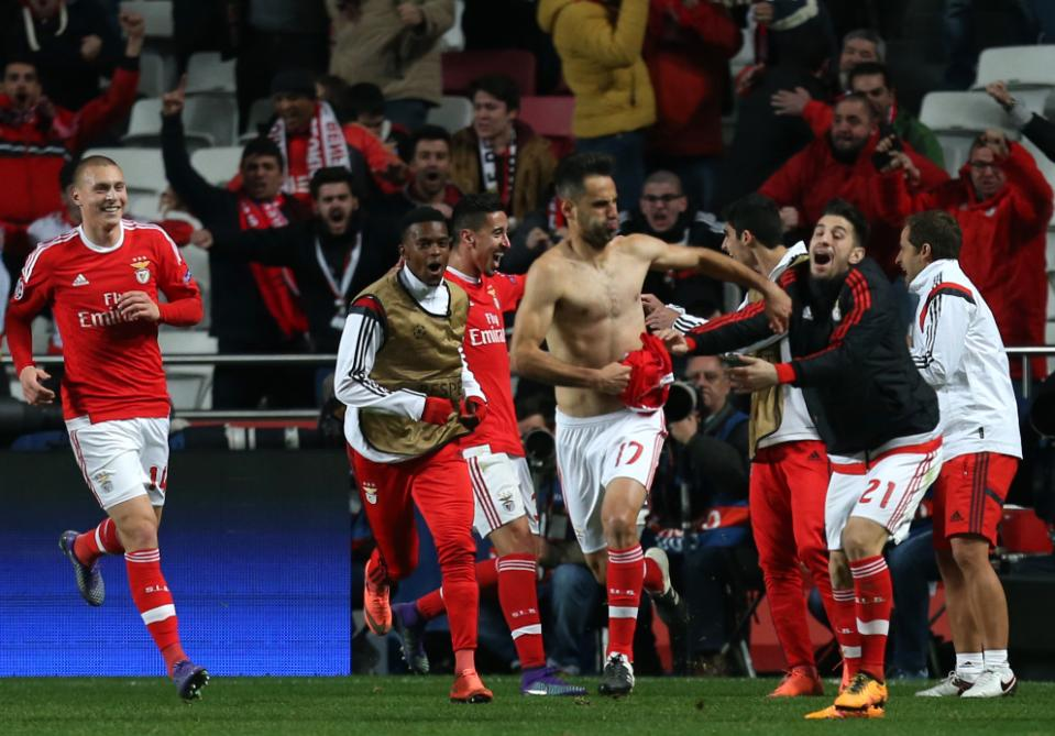 Benfica's Jonas celebrates scoring the opening goal during a Champions League Round of 16 first leg soccer match between Benfica and Zenit at Benfica's Luz stadium in Lisbon, Portugal, Tuesday, Feb. 16, 2016. (AP Photo/Armando Franca)